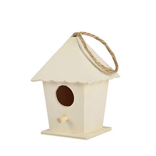 99native Vogelhaus Zum Aufhängen, Hölzerne Futterstation Wildvögel Nistkasten Vogelhäuschen Vogel Fütterung Wildvogelhaus,Wetterfest, Unbehandelt, Nisthilfe für Nischenbrüter, Brutkasten (Khaki)