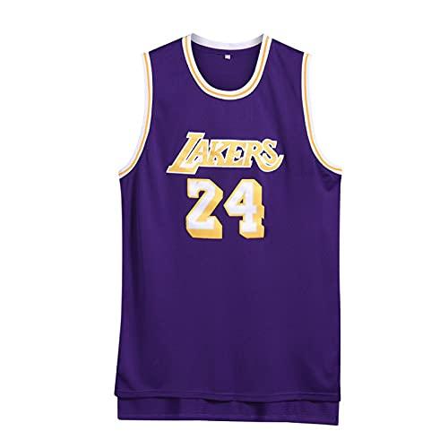 Jersey de Baloncesto de los Hombres-Bryant-Lakers # 24 Jersey, Camiseta de Baloncesto de Malla Bordada, 100% poliéster(púrpura,XL)