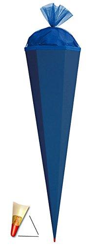 alles-meine.de GmbH Schultüte - Rohling - kräftiges BLAU - 85 cm - mit Holzspitze / Tüllabschluß - Zuckertüte Roth - zum Basteln, Bemalen und Bekleben Bastelschultüte