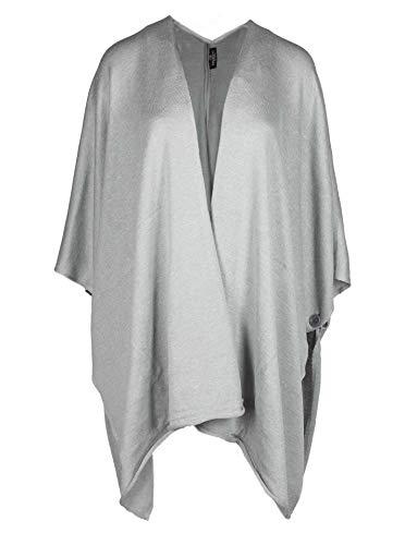 Zwillingsherz Poncho-Schal mit Baumwolle - Hochwertiges Cape für Damen - XXL Umhängetuch und Tunika mit Ärmel - Strick-Pullover - Sweatshirt - Stola für Sommer und Winter - hellgrau