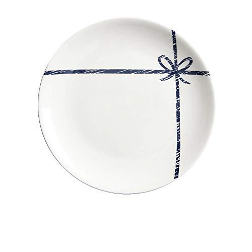 Gemakkelijk te plaatsen 8 eettafels in Scandinavische stijl, Nordic Keramische westerse gerechten, Ontbijt Taarten, Vaatwasser, Huishoudelijke gebruiksvoorwerpen, Ronde vaatwerk, Borden, met Blauwe Border -30 cm 20.5 * 2cm Ritual Knot