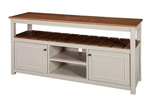 Savannah 2-Door TV Cabinet, Ivory with Natural Wood Top