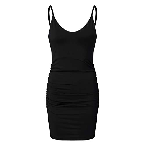 Janly Clearance Venta Vestido de mujer, estilo de vacaciones sexy sólido sin mangas casual mini vestido (Negro-M)