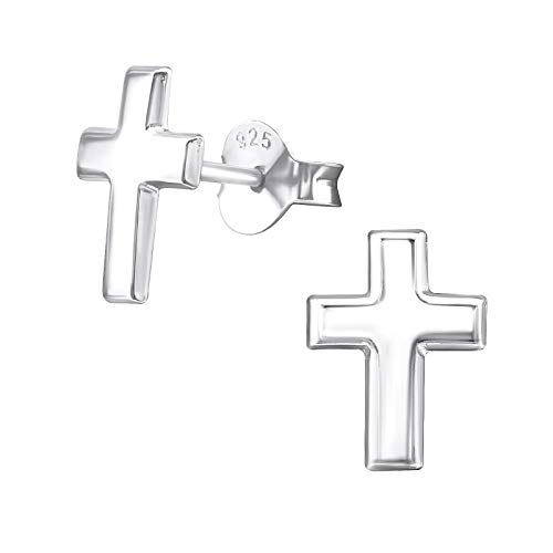 Monkimau Oorstekers voor meisjes, kruis, oorstekers van 925 sterling zilver