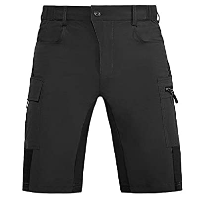 Vzteek Men's Outdoor-Hiking-Shorts Quick Dry Lightweight Stretchy Cargo Shorts for Hiking, Travel, Camping with 5 Pockets (Black, XX-Large)