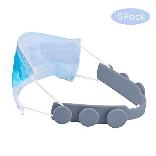 Sooair - Set di 6 estensori per maschere in silicone, per alleviare i dolori alle orecchie, adatti per diverse maschere, colore: Grigio