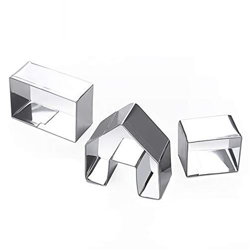 Efforts 3 Stücke 3D Lebkuchenhaus Edelstahl Keksform Set, Kleine Keksausstecher aus Edelstahl, DIY Tools für Backen Fondant Weihnachten, Plätzchen Ausstecher Mini,