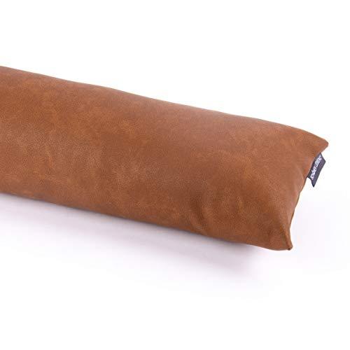 SCHÖNER LEBEN. Zugluftstopper Kunstleder Dust Uni Camel Verschiedene Größen, Auswahl:110cm Länge
