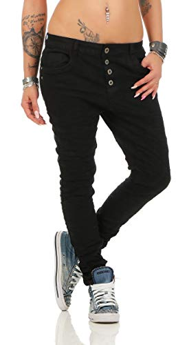 10118 fashion4young Knackige Damen Jeans Röhrenjeans Hose Boyfriend Style Damenjeans Streetstyle, Schwarz, XL