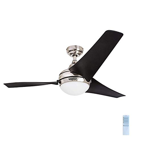 """Honeywell 50195 Rio 52"""" Ceiling Fan with Remote Control, Contemporary Integrated LED Light Kit and High Power Blades, Brushed Nickel"""