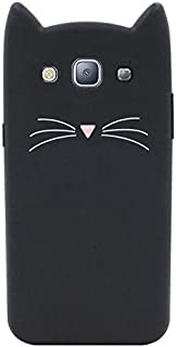 Samsung Galaxy S3 Case, iFunny Cute 3D Cartoon Animals Simple Style Fortune Beard Cat Shockproof and Protective Soft Silicone Rubber Phone Case for Samsung Galaxy S3 S III I9300 (Black Beard Cat)