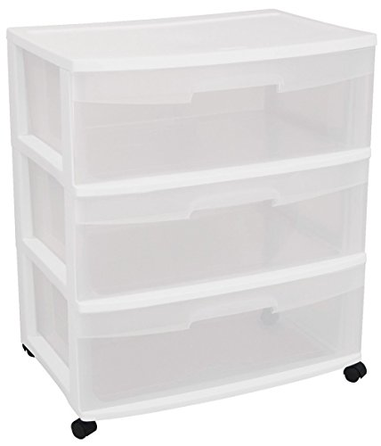 Sterilite 29308001 Wide 3 Drawer Cart, White Frame with Clear Drawers and Black Casters, 1-Pack
