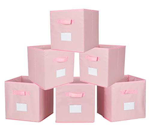 TQVAI Foldable Clothes Storage Cubes 6 Pack with Label Holder Nylon Collapsible Nursery Basket Closet Bin Organizer - Dogwood Pink