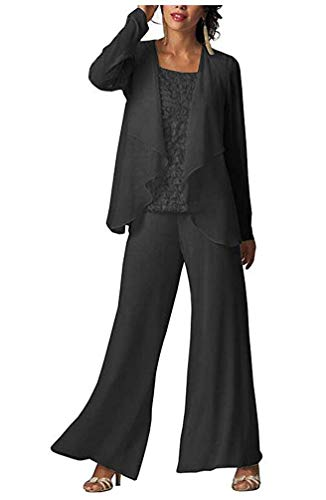 MiBotong Women's 3 Pc Lace Bodice Pants Suits For Mother Of The Bride Evening Gowns