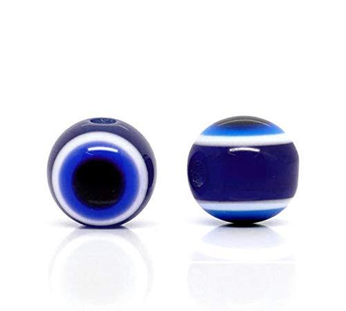 100 unidades Nazar Boncuk Boncugu redondas de 6/8/10 mm, ojo de boese, perlas de ojo azul, cuentas de ojo turco, amuleto de la suerte, decoración de pared, (8 mm)