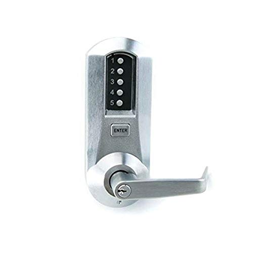 Kaba Simplex 5000 Series Cylindrical Mechanical Pushbutton Lock, 13mm Throw Latch, Floating Face Plate, 70mm Backset, Kaba Cylinder (Schlage 'C' Keyway) Included, Winston Lever, Satin Chrome Finish