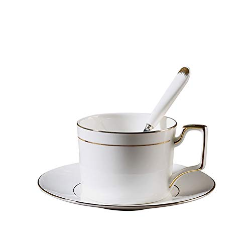 KHKJF Bref en Céramique Café Tasse À Lait avec Soucoupe Set Bone China Drinkware Office Master Flower Tea Mug Rim Gold Hand Grip Cups