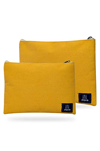 AQVA Pack of 2 Cotton Canvas Multipurpose Cosmetic Organizer Bag With Zipper - Water Resistant Travel Toiletry Pouch, DIY Craft Bag - Perfect for Stationary, Outdoor Activity (Large, Mustard)