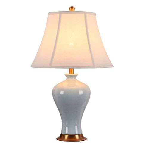 Table Lamp, Western Restaurant Cafe decoratieve tafellamp Cyan vaasvorm Keramiek Table Lamp Energy Saving Table Lamp Lighting tafellamp vase (Color : A, Size : 33 * 55cm)