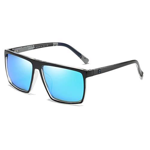 DUBERY Fashion Polarized Sunglasses for Men Women Square Outdoor Driving Sun Glasses D369 (Black&Transparent/Azure)