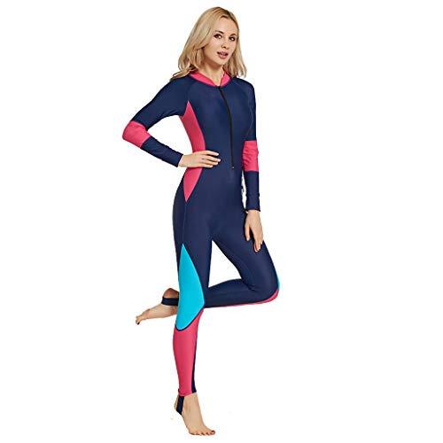 Winkey Surfanzug, Female Siamese Long Sleeve Sunscreen Dünner Tauchanzug Ganzkörpertauchanzug und Sports Skin Diving Schnorcheln