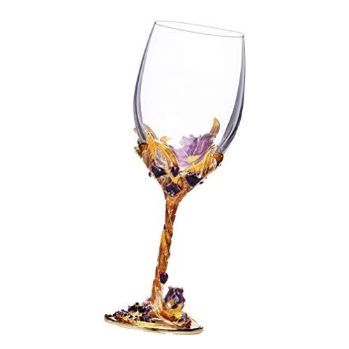 Cabilock Cristal Esmaltado Copas de Vino Copas de Champán Copas de Tostado con Flores de Iris para Boda Fiesta Bar Hogar