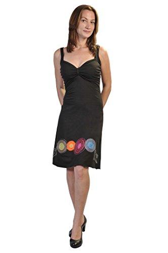 TATTOPANI Frauen-Sommer-Sleeveless Abend Sun-Kleid mit bunten Stickereien