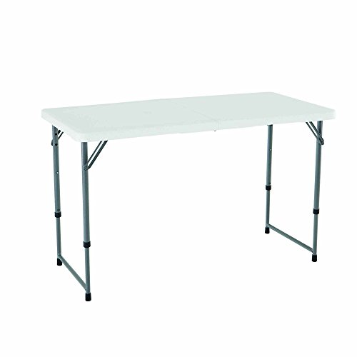 Lifetime 4428 Height Adjustable Folding Utility Table, 48 by 24 Inches, White Granite (Renewed)