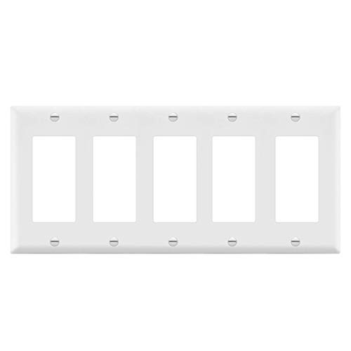 Decorator Wall plate by Enerlites 8835-W 5-Gang, Standard Size, White, Unbreakable Poly-carbonate Plastic, Five Device Cover Replacement for Paddle Rocker Light Switch