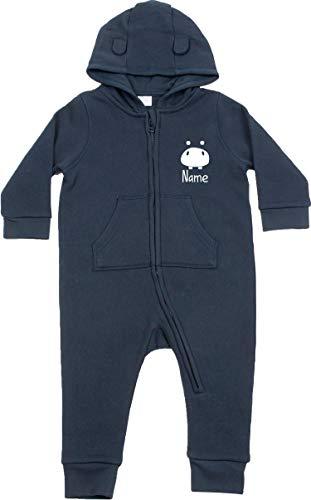 Kleckerliese Combinaison pour bébé enfant avec oreilles et inscription Hippo - Bleu - 2-3 ans