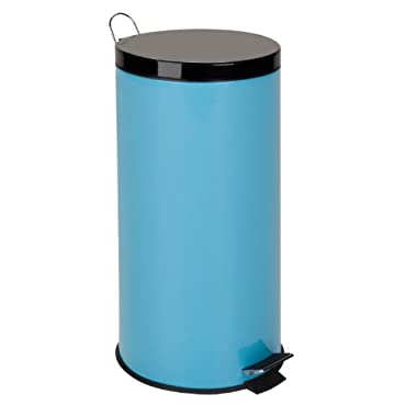 Honey-Can-Do TRS-02075 Stainless Steel Step Trash Can with Liner, Blue, 30-Liter/8-Gallon