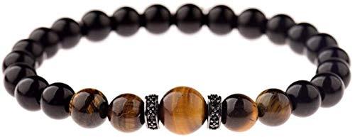 Plztou Pulsera de piedra, mujer, 7 chakra 8mm, tigre natural, perlas de piedra, obsidiana, brazalete, brazalete, joyería, redan, yoga, energía, gimnasio, regalo de la joyería de la joyería del encanto