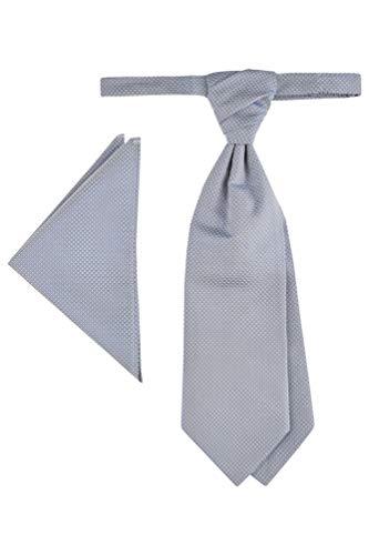 Wilvorst Plastron mit Ziertuch, Grau-Blau mit Micromusterung
