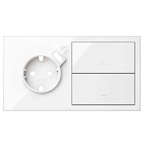 Kit front 2 elementos, 1 base con cargador USB y 2 teclas, serie 100, 4 x 15 x 8 centímetros, color blanco (referencia: 10020212-130)