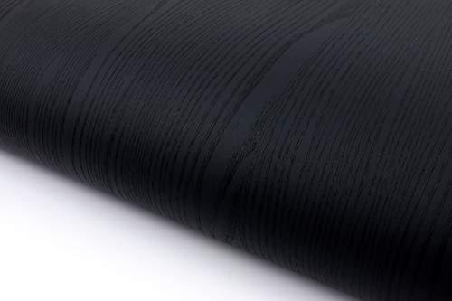 Hout Patroon Textuur Interieur Film Vinyl Zelfklevende Peel-Stick Vbs8806 Black 50x300cm