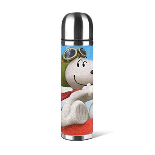 haoqianyanbaihuodian Dibujos animados Stainl botella de acero de doble pared aislada al vacío taza de viaje con taza PU cuero shell resistente a la corrosión sin olor, sin manchas, sin sabor
