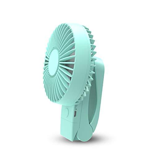 JINKEBIN Ventilador USB de 4000 mAh portátil de refrigeración USB Ventilador 4 velocidades de rotación de 360 grados Ventilador de aire recargable USB Cargador de escritorio Clip para verde