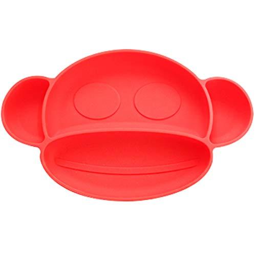 O³ Plato Bebe Ventosa Mono – Platos Bebe Con 3 Cucharas Silicona Bebe & 3 Tenedores - Plato Ventosa Bebe – Plato Bebe En 2 Colores – Divertido y Seguro– Sin BPA (Rojo)