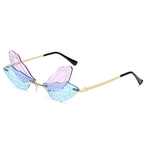 Gafas De Sol De ala De Libélula Sin Montura A La Moda, Gafas De Fiesta para Mujer, Gafas De Moda Vintage Creativas, Gafas De Sol Transparentes UV400,D