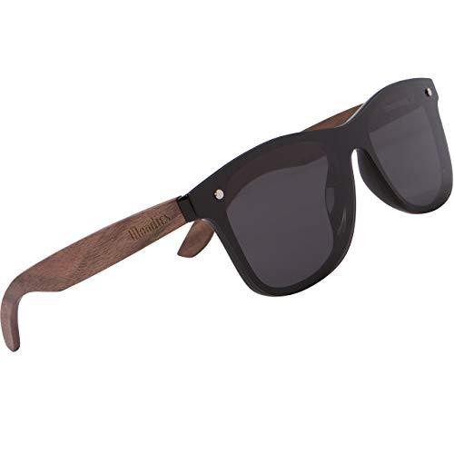 Woodies - Gafas de sol de madera de nogal con lente polarizada de espejo plano (negro)