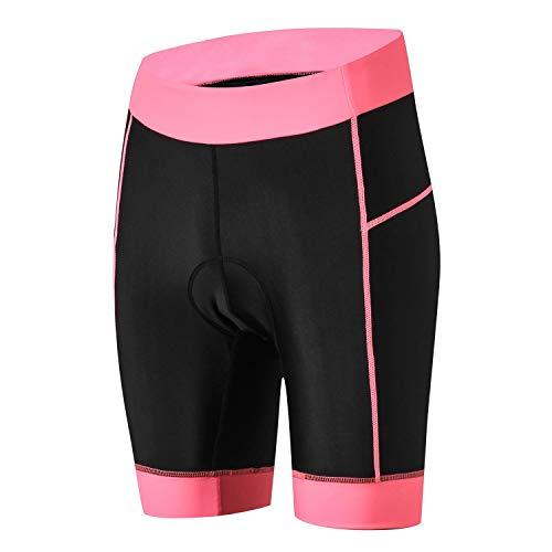 JPOJPO Damen Fahrrad-Shorts mit 5D-Gel-Polsterung, Radunterwäsche, Sporthose M rose
