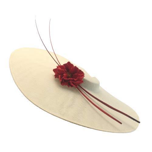 pequeño y compacto Pamela blanca rota con alas de cangrejo y un adorno floral rojo de 50 cm de diámetro