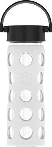 Lifefactory Glas Trinkflasche mit Silikon-Schutzhülle, BPA-frei, auslaufsicher, spülmaschinenfest, 475ml, weiß