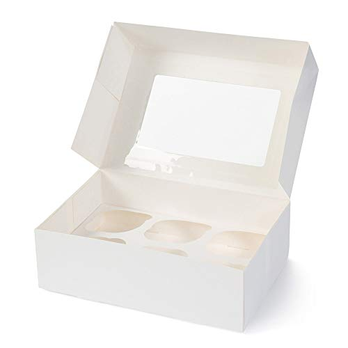 BIOZOYG 6er Cupcake Muffin Box Karton mit großem Sichtfenster inkl. Einlage I 25 Stück Patisserieschachteln Geschenkboxen weiß I Bio Box Take Away Kartonschachtel biologisch abbaubar