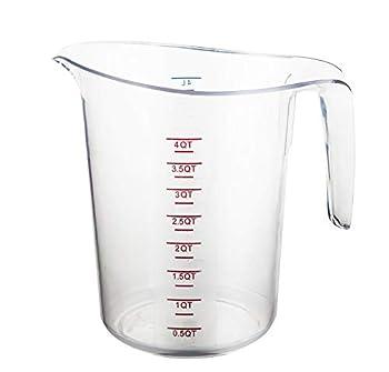 Caspian Plastic Measuring Cups wholesale with Graduations  6 Pieces  Clear 4QT size.