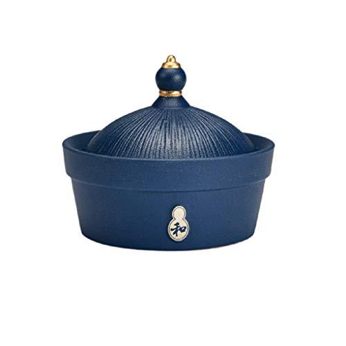 ZNZN Cenicero Cenicero Ceramic Hat Office Balcón con Cubierta A Prueba De Viento Dormitorio Sala De Estar Cigarrillo Interior Caja Cenicero Cigarrillos (Color : Blue)