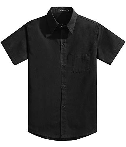 Spring & Gege Chemise Couleur Garçon Unie Uniforme Scolaire Classique de Coton pour Enfant Noir 9-10 Ans
