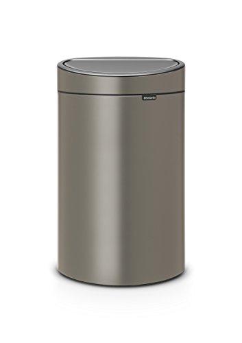 Brabantia Poubelle Touch Bin, 40 litres, Platine, Capacité 40 Litres, 72,7 cm x 43,5 cm x 30,2 cm