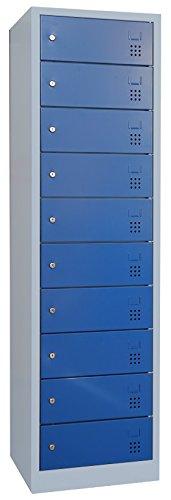 Laptopschrank Schließfachschrank Notebookschrank 10 Fächer mit je einer Steckdose 230V pro Fach (526441:Lichtgrau RAL 7035 / Türen: Enzianblau)