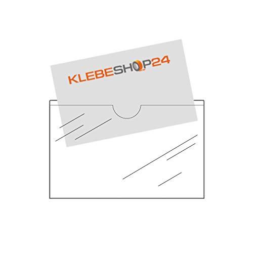 Visitenkartentaschen selbstklebend | Mit Daumenausstanzung oben | Transparent | 20 oder 100 Stück | 95 x 60 mm | Breite Seite offen | Visitenkartenhüllen zum Einkleben | Kartenhüllen zum Kleben / 20 Stück